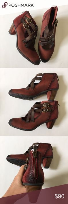 QVC Earth Brand Booties Retails for $125.  When the temperature starts to fall, but you're not ready to give up strappy shoes, try these Earth booties. Leather straps crisscross the front of the closed-toe design, giving you both of best wardrobe worlds. From Earth Brands Footwear.  These are new without box, however have some very light blemishes (not noticeable unless looking for them) to suede and a gold X on the bottom sole of one boot. Size women's 7.5. Shoes Ankle Boots & Booties