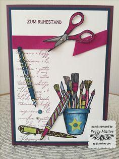 Stampin up , Kreiert mit Liebe , in Color 2017 bis 2019 , Karte zum Ruhestand , Design Peggy Müller