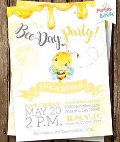 Bee Party Bee Birthday Invite Bee Party Invite Black And Yellow Birthday Bee Invitation Bee Day Bee Birthday Invitation - Oaklyn Baby Name - Ideas of Oaklyn Baby Name - Girl First Birthday, First Birthday Parties, First Birthdays, Birthday Ideas, 1st Birthday Themes Girl, Yellow Birthday, Farm Birthday, Birthday Presents, Happy Birthday