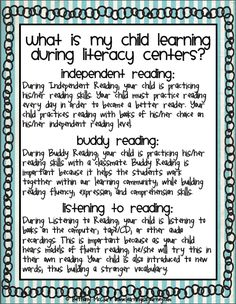 Letter describing DAILY 5 to parents...with skills they can do at home to promote D5! Definitely giving this out at conferences :)