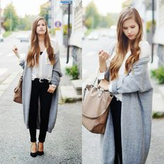 Cubus Maxi Cardigan, Zara Bag, H&M Blouse, H&M Jeans
