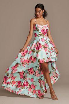 Flirty girl~floral ruffle layered mini slip skirt drapey flowy high low flower skirt size large fits 34~36