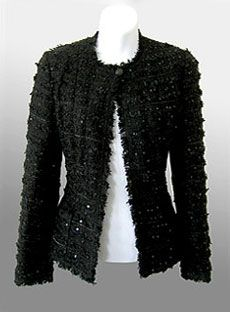 CHANEL Fringed Sequin Boucle Evening Jacket