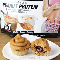 Peanut Butter and Jelly Protein Cupcakes - gluten free, low carb, high protein
