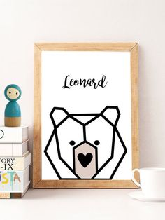 Personalized baby gift custom name print print baby gift gifts baby name wall decor bear nursery wall art gifts for baby boy baby name art custom baby gift personalized baby gifts for boys animals poster negle Gallery