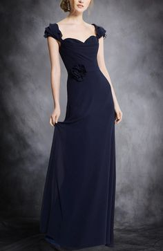 This is a floor-length bridesmaid dress that has a capped sleeve and with a unique sash at waist. Chiffon A-line Floor-length Capped Sleeve Bridesmaid Dresses. Style Code: 07485 $94 Get it here: http://www.outerinner.com/chiffon-a-line-floor-length-capped-sleeve-bridesmaid-dresses-pd-07485-12.html  #BridesmaidDresses #OuterInner #Chiffon