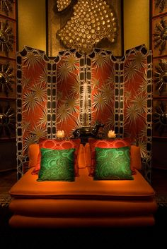 """Tony Duquette for Jim Thompson Thai Silk photographed at """"Dawnridge"""", the Tony Duquette house in Los Angeles. What Is Gorgeous, Grace Home, Los Angeles Homes, Lettering, Malachite, Living Room Decor, Design Inspiration, Interior Design, Home Decor"""