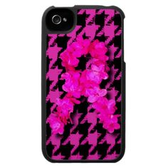 Pink/Black Houndstooth With Flower Ribbon Case For The iPhone 4