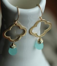 Clover /vermeil,14k gold filled & blue chalcedony gemstone earrings $29