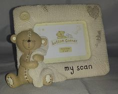 Button Corner Baby Scan Frame Baby Scan Frame, Harmony Test, Picture Frames, Corner, Teddy Bear, Buttons, Fun, Pictures, Gifts