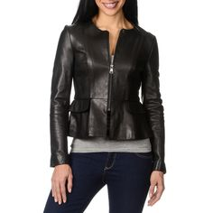 Bebe Women's Leather Peplum Jacket - Overstock™ Shopping - Top Rated Jackets in MEDIUM