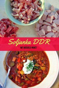 Soljanka, nach DDR Art. DAS Rezept One-Pot-Rezept für Wurst- und Fleischreste. Perfekter Katerkiller auch an Fasching. Säuerlich, scharf