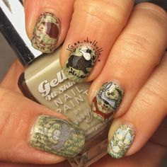 """This is a double stamping and decal manicure that took flipping ages but, I adore it! Polishes used are @barrymcosmetics Gellys 'Olive' and 'Cardamom' and…"""