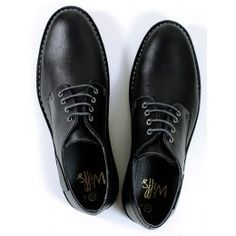Mens vegan casual derby shoes in black by Wills London