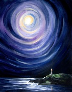 Moon and a Lighthouse Landscape Painting  Digital by kathrynbeals, $16.00