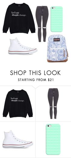 """School day"" by starry-night2021 ❤ liked on Polyvore featuring Topshop, Converse, Casetify and JanSport"