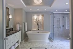 Boom! the Free-standing tubs are among the top trends for bathrooms in 2014 and trends continues for 2015. This design from the National Kitchen & Bath Association plays to other trends, including whites and grays, and tile flooring. Homeowners also want easy accessibility and lots of light.