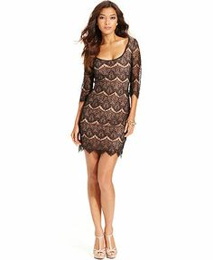 GUESS Dress, Three-Quarter-Sleeve Lace Sheath - Dresses - Women - Macy's