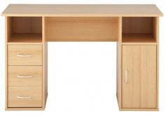 A desk with 1 cabinet, 2 open racks, and 3 drawers are designed such that it perfectly matches your interior and gives a proper intension for your kid to study. The natural color adds extra flavour to your room. Luxury Furniture Stores, Buy Furniture Online, Room Interior Design, Table Desk, Cool Suits, Drawers, Study, Kid, Cabinet