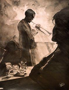Encre de Chine #Musicien #dessin #peinture #jazz