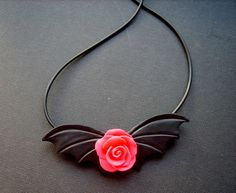 Shocking Pink Rose Bat Wings Necklace Unique by CherryCarnage, £9.75
