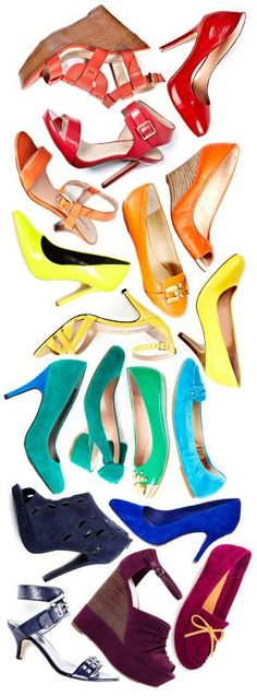 Low this colorful rainbow of shoes!