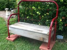Refurbish An Old Folding Lawn Chair With Seatbelt Webbing . DIY: Patio Chair Before After Patio Furniture Makeover . Home Design Ideas Iron Headboard, Headboard Benches, Metal Headboards, Brass Headboard, Single Metal Bed Frame, Bed Frame Bench, Old Bed Frames, Old Beds, Lawn Furniture