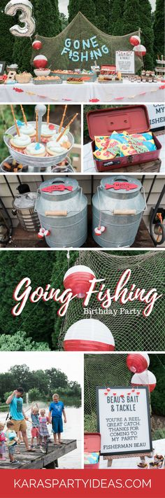 baby boy birthday party Going Fishing Birthday Party via Kara's Party Ideas - Boy First Birthday, Boy Birthday Parties, Birthday Ideas, 21st Birthday, Baby Showers Juegos, Serpentina, Boy Baby Shower Themes, Motif Floral, Party Time