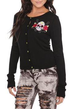TOO FAST KNIT BACK SUGAR SKULL CARDIGAN  $56.00