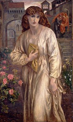 ⊰ Posing with Posies ⊱ paintings & illustrations of women & children with flowers - Dante Gabriel Rossetti - Salutation of Beatrice