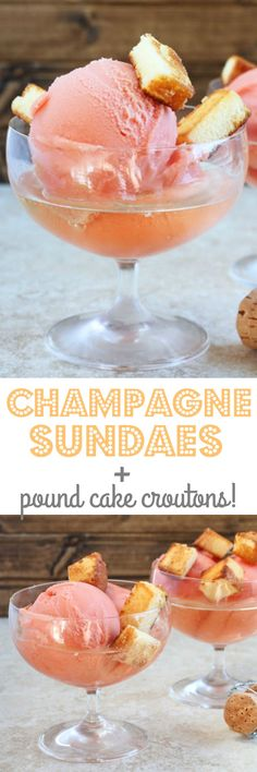 Champagne Floats! with toasted pound cake croutons for New Year's Eve dessert! Scale the recipe up or down for your NYE party! @dessertfortwo