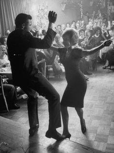 "Pop Singer Chubby Checker Singing His Hit Song ""The Twist"" on Dance Floor at Crescendo Nightclub Premium Photographic Print"