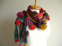 Made To Order  Long Scarf With pompoms and  Fringes by crochetlab, $38.00