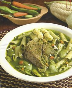 Sopa Menestron - a beef base with choclo, noodles, fava beans and Peruvian Dishes, Peruvian Cuisine, Peruvian Recipes, Bolivian Food, Cooking Recipes, Healthy Recipes, Food Tasting, Food Places, International Recipes