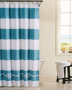 100% Cotton Shower Curtain Marine Design Nautical Rope Fabric Shower Curtain Boating Ocean Lake Seashore Wide Stripes (Teal/White) Costal Collection http://www.amazon.com/dp/B00VTSAYAS/ref=cm_sw_r_pi_dp_OVDkvb0WQMXWP