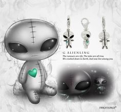 Give G Alienling some love, he's far away from home and feeling a lonely. He is made from solid sterling silver with a rhodium plated coating and hand painted enamel touches. He is available in a slide on and clip on version. Creepy Art, Creepy Dolls, Gothic Poems, Painting Tattoo, Body Painting, Pomes, Beautiful Dark Art, Aliens And Ufos, Alien Art
