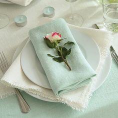 Mint Linen Napkin Terra #table linen #mint #white #linennapkin