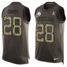 Nike Steelers #28 #Sean #Davis Green Men's Stitched #NFL Limited Salute To Service Tank Top #Jersey