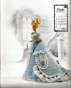1993 Annie's Calendar Bed Doll Society The Victorian Lady Centennial Collection October Fashion Doll Crochet Pattern Doll Clothes Patterns, Doll Patterns, Crochet Patterns, Crochet Doll Dress, Crochet Barbie Clothes, Barbie Wedding Dress, Barbie Dress, Doll Dresses, Barbie Doll