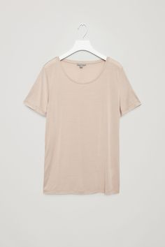 COS image 6 of Silk jersey t-shirt in Biscuit