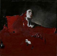 Nicola Samorì - Orsola. Oil on canvas, 100 x 100 cm (2011) [found at alecshao]