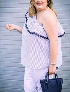One shoulder ruffle top and the best white jeans ever