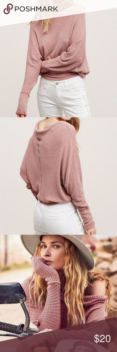 Free People Mercury tee Pale mauve // muted pink off the shoulder top.  Can be worn with sleeves down or rolled over 3/4 length.  XS only worn once. Free People Tops Tees - Long Sleeve
