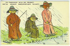 Louis Wain 3 Dressed Cats Fishing in Rain Rheumatism Signed Vintage Postcard