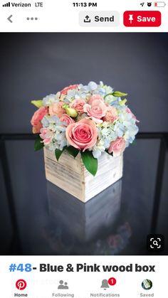 Pink and blue wedding flowers floral arrangements 69 Ideas for 2020 Pink Flower Centerpieces, Blue Flower Arrangements, Flower Decorations, Wedding Centerpieces, Flower Bouquet Boxes, Flower Box Gift, Diy Flower, Blue Wedding Flowers, Pink Flowers