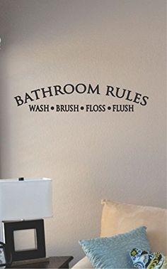 Bathroom Rules Vinyl Wall Art Decal Sticker JS Artworks http://www.amazon.com/dp/B00TG0KM1M/ref=cm_sw_r_pi_dp_J6Eivb0Z4C4TJ