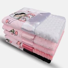 """My Blankee creates exemplary baby gifts to whichever end you choose: receiving blanket, snuggle blanket, crib bedding, etc. Our classic velour prints and silky charmeuse satins are sure to please you and your baby. Lovey, Blankee, and Security come with 2"""" Satin Border. Stroller size and up come with a 3"""" Satin Border. Features: 100% Microfiber Polyester, Hypoallergenic,0% Shrinkage, pre-shrunk, 0% bleeding, Machine wash cold, low tumble dry, Made in the USA."""