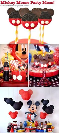 TONS of Mickey Mouse Party Ideas via Kara's Party Ideas KarasPartyIdeas.com #supplies #mickey #mouse #decorations #ideas #party #birthday #cake #favors by jeaneallyc