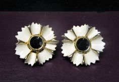 Enamel White Flower Clip On Earrings Signed Craft Vintage 1980s with Black Centre by letsreminisce on Etsy