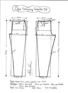 Esquema de modelagem de calça skinny tamanho 54.